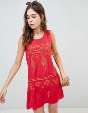 photo Sleeveless Mini Shift Dress with Contrast Embroidery by Glamorous, color Red - Image 1