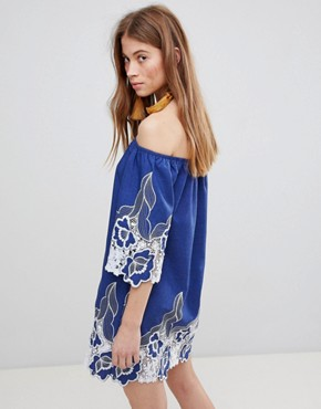 photo Off Shoulder Mini Shift Dress with Contrast Floral Lace by Glamorous, color Blue - Image 2