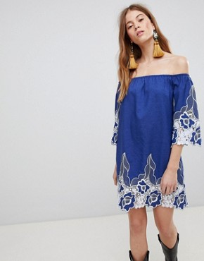 photo Off Shoulder Mini Shift Dress with Contrast Floral Lace by Glamorous, color Blue - Image 1