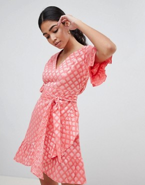 photo Mini Dress with Ruffle Hem and Tie Waist in Jacquard by Glamorous, color Coral Damask - Image 1