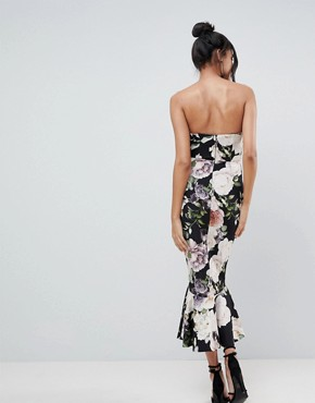 photo Structured Bandeau Dress with Pep Hem with Cut Out by ASOS DESIGN Tall, color Dark Floral - Image 2