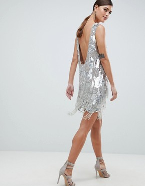 photo Mini Dress in All Over Sequins and Tassel Fringe by ASOS EDITION, color Silver - Image 2