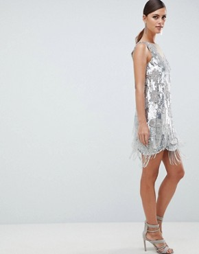 photo Mini Dress in All Over Sequins and Tassel Fringe by ASOS EDITION, color Silver - Image 1