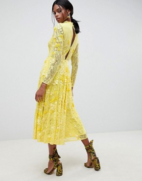 photo All Over Lace Embellished Midi Dress by ASOS EDITION, color Yellow - Image 2