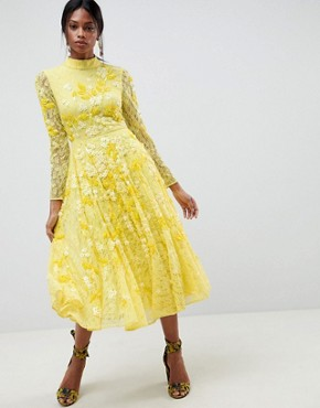 photo All Over Lace Embellished Midi Dress by ASOS EDITION, color Yellow - Image 1