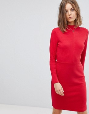 photo High Neck Fitted Dress by Esprit, color Red - Image 1