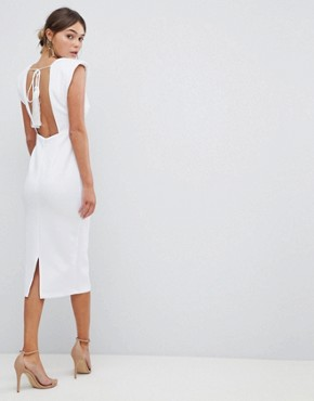 photo Deep Plunge Tassel Back Midi Dress by ASOS DESIGN Premium, color White - Image 2