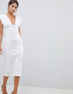 photo Deep Plunge Tassel Back Midi Dress by ASOS DESIGN Premium, color White - Image 1