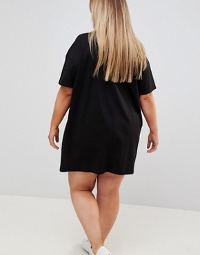 photo Super Oversized t-shirt Dress with Popper Placket by ASOS DESIGN Curve, color Black - Image 2