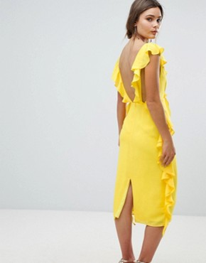 photo Sleeveless Midi Dress with Soft Ruffles by ASOS DESIGN, color Yellow - Image 2