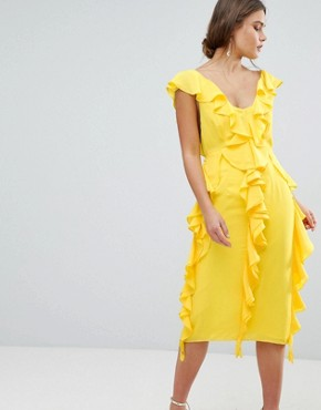 photo Sleeveless Midi Dress with Soft Ruffles by ASOS DESIGN, color Yellow - Image 1
