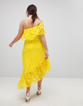 photo One Shoulder Asymmetric Lace Midi Skater Dress with Belt by ASOS CURVE, color Yellow - Image 2