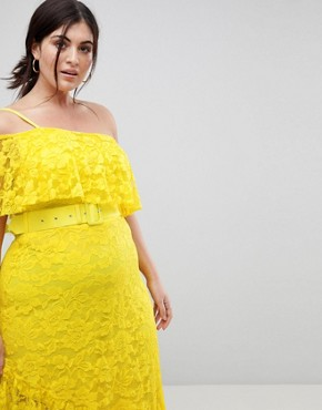 photo One Shoulder Asymmetric Lace Midi Skater Dress with Belt by ASOS CURVE, color Yellow - Image 3