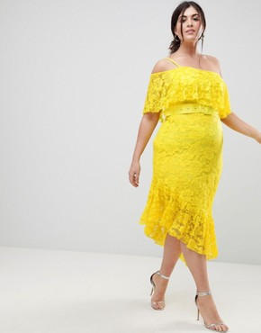 photo One Shoulder Asymmetric Lace Midi Skater Dress with Belt by ASOS CURVE, color Yellow - Image 4