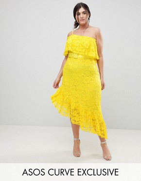 photo One Shoulder Asymmetric Lace Midi Skater Dress with Belt by ASOS CURVE, color Yellow - Image 1