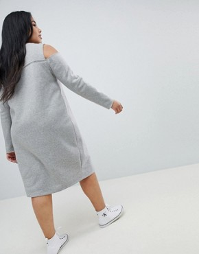 photo Sweat Dress with Cold Shoulder by ASOS CURVE, color Grey - Image 2