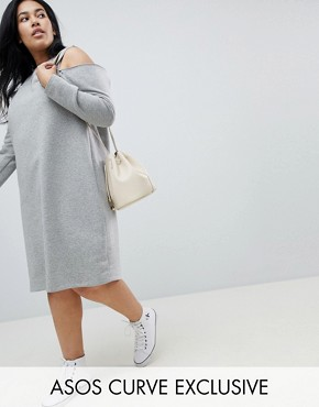 photo Sweat Dress with Cold Shoulder by ASOS CURVE, color Grey - Image 1
