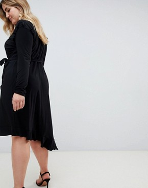 photo Frill Detail Wrap Dress by ASOS CURVE, color Black - Image 2