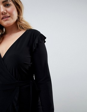 photo Frill Detail Wrap Dress by ASOS CURVE, color Black - Image 3