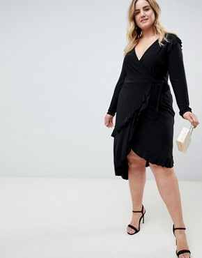 photo Frill Detail Wrap Dress by ASOS CURVE, color Black - Image 4