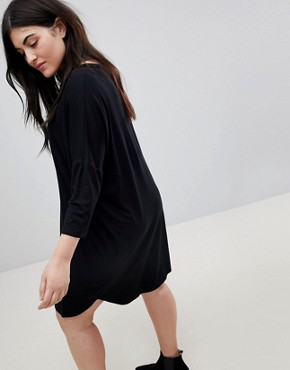 photo Oversize T-Shirt Dress with Seam Detail by ASOS CURVE, color Black - Image 2