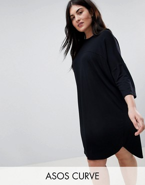 photo Oversize T-Shirt Dress with Seam Detail by ASOS CURVE, color Black - Image 1