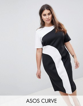 photo Mono Colour Block Midi T-Shirt Dress by ASOS CURVE, color Multi - Image 1