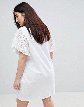 photo T-Shirt Dress with Broderie Sleeves by ASOS CURVE, color White - Image 2