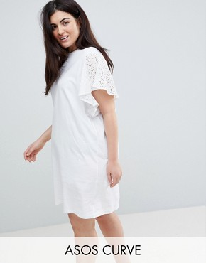 photo T-Shirt Dress with Broderie Sleeves by ASOS CURVE, color White - Image 1