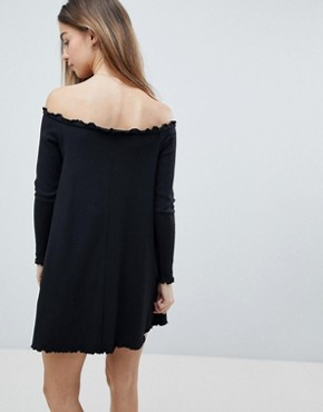photo Babylock Rib Off Shoulder Mini Dress by ASOS PETITE, color Black - Image 2