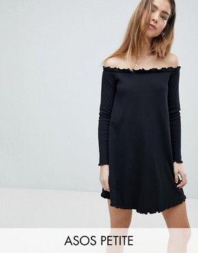 photo Babylock Rib Off Shoulder Mini Dress by ASOS PETITE, color Black - Image 1