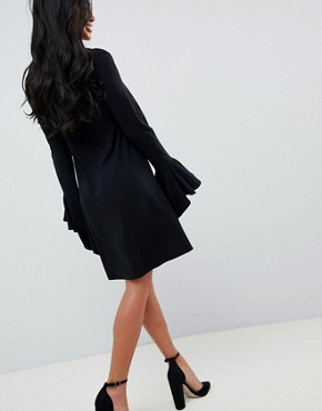 photo Frill Cuff Mini Shift Dress in Ponte by ASOS PETITE, color Black - Image 2