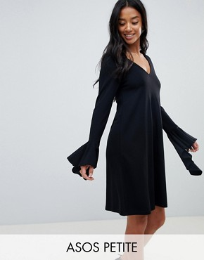 photo Frill Cuff Mini Shift Dress in Ponte by ASOS PETITE, color Black - Image 1