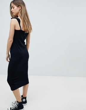 photo Midi Vest Dress with Frill Straps and Popper Placket by ASOS PETITE, color Black - Image 2