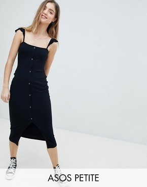 photo Midi Vest Dress with Frill Straps and Popper Placket by ASOS PETITE, color Black - Image 1