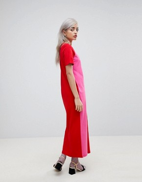 photo T-Shirt Maxi Dress in Colour Block by ASOS PETITE ULTIMATE, color Multi - Image 2