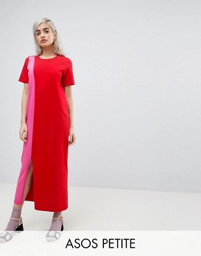 photo T-Shirt Maxi Dress in Colour Block by ASOS PETITE ULTIMATE, color Multi - Image 1
