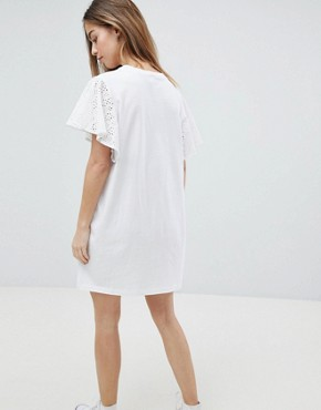 photo T-Shirt Dress with Broderie Sleeves by ASOS PETITE, color White - Image 2