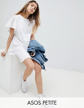 photo T-Shirt Dress with Broderie Sleeves by ASOS PETITE, color White - Image 1