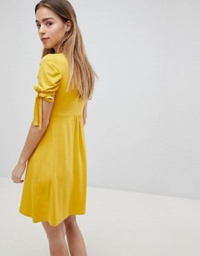 photo Mini Button Through Tea Dress with Tie Sleeve by ASOS PETITE, color Mustard - Image 2