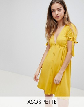 photo Mini Button Through Tea Dress with Tie Sleeve by ASOS PETITE, color Mustard - Image 1