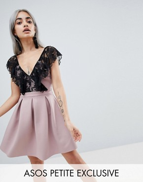 photo Scuba Mini Skater Dress with Lace by ASOS DESIGN Petite, color Mink/Black - Image 1