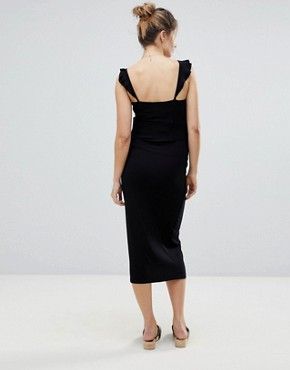 photo Midi Vest Dress with Frill Straps and Popper Placket by ASOS Maternity, color Black - Image 2