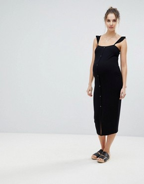 photo Midi Vest Dress with Frill Straps and Popper Placket by ASOS Maternity, color Black - Image 1