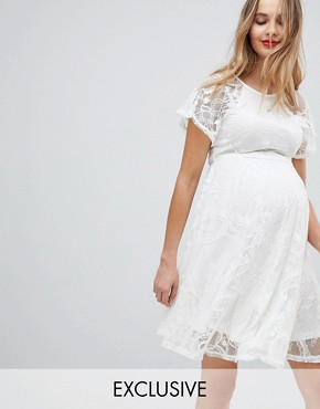 photo Flutter Sleeve Lace Skater Dress by ASOS Maternity, color Cream - Image 1