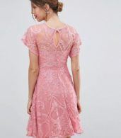 photo Flutter Sleeve Lace Skater Dress by ASOS Maternity, color Pink - Image 2