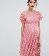 photo Flutter Sleeve Lace Skater Dress by ASOS Maternity, color Pink - Image 1
