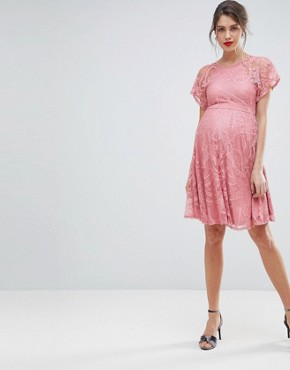 photo Flutter Sleeve Lace Skater Dress by ASOS Maternity, color Pink - Image 4