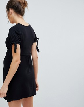 photo Maternity Mini Button Through Tea Dress with Tie Sleeve by ASOS DESIGN, color Black - Image 2