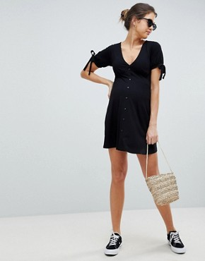 photo Maternity Mini Button Through Tea Dress with Tie Sleeve by ASOS DESIGN, color Black - Image 1